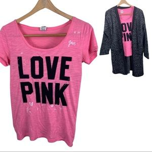 PINK Victoria Secret Shirt Graphic Tee Embroidered